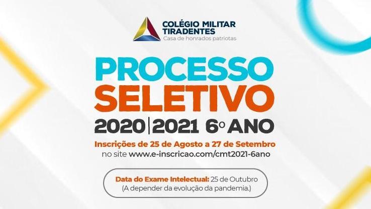 Inscrições para o Colégio Militar Tiradentes